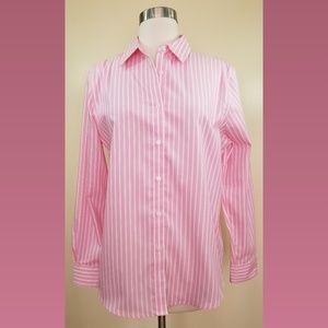 Jones New York Pink White Stripe Button Up Shirt